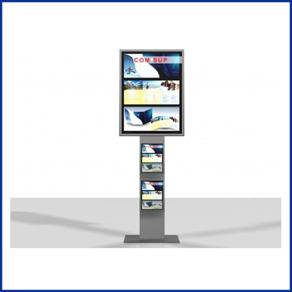 Excellio 1 est un porte affiche équipé d'un cadre clipant 60cm / 80cm et 2 porte brochure en plexiglass. Sa base en acier lui confère une stabilité au sol.