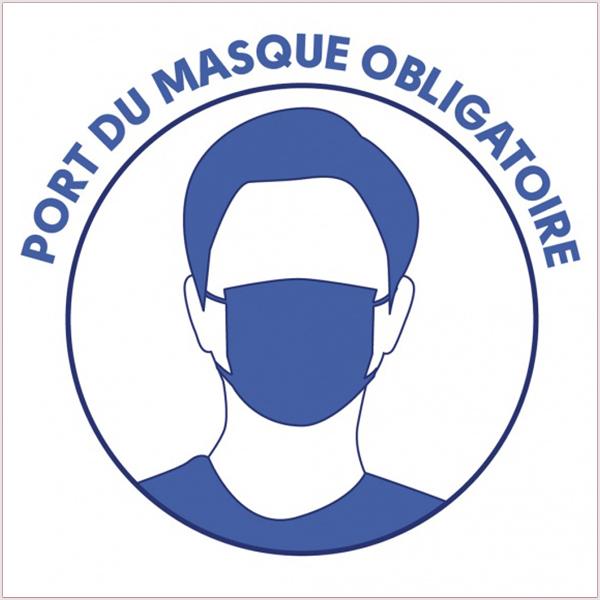 Sticker autocollant Port Du Masque Obligatoire. Adhésif monomère. Dimensions (Long. x Prof. X Haut.) : Carré 15 cm de côté