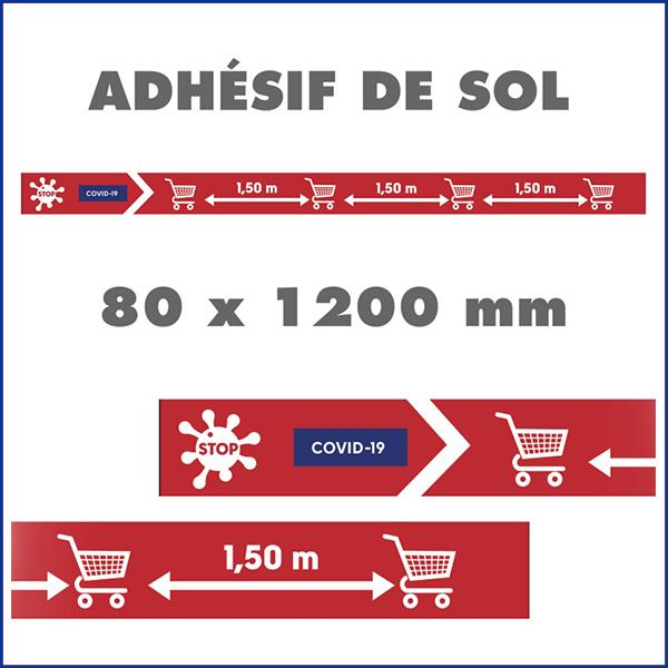 Bandes de sol adhésives COVID-19 - Balisage pour le respect des distances format 80 x 120 cm. Vendu par Kit de 10 PC. BDSA80120