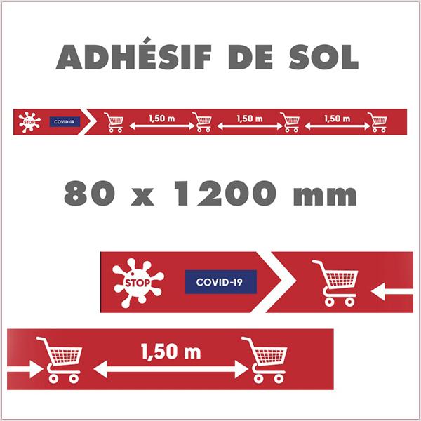 Bande De Sol Adhésive, Balisage COVID-19. Visuel spécifique COVID-19. Adhésif de sol antidérapant. Vendu par Kit de 20 PC