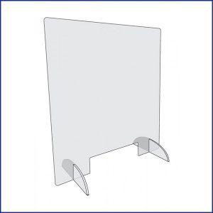 Poser sur un guichet, comptoir ou bureau, cette vitre de protection protège le personnel des risques de contamination du virus.