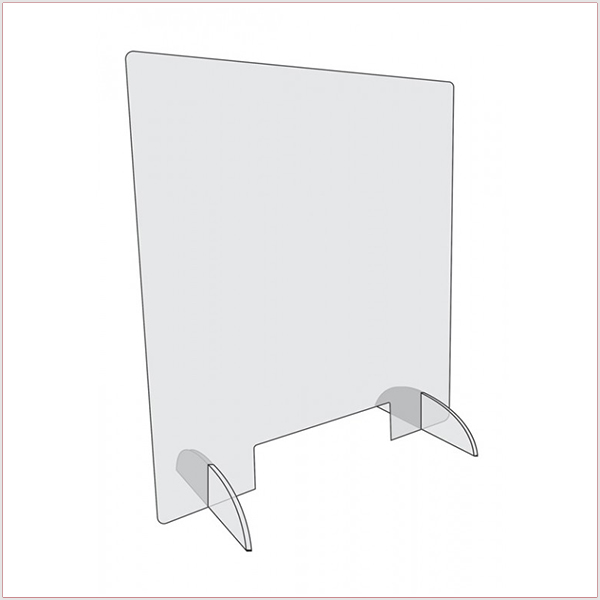 Hygiaphone En Plexiglas COVID-19. Dimensions (Long. x Prof. X Haut.) : 88 x 29 x 65 cm.