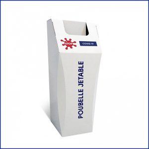 Cette poubelleen carton recyclé peut être jetée sans être vidée. Elle est fabriquée à partir de carton recyclé. Visuel spécifique COVID-19.