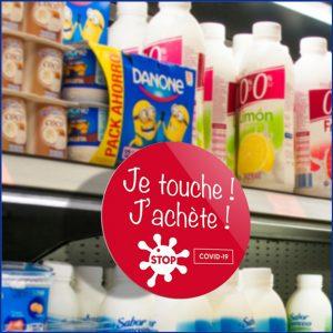 """Stop-rayon """"ne pas toucher"""" pour protéger les produits en rayon de magasin.Dans le cadre des nouvelles mesures d'hygiène."""
